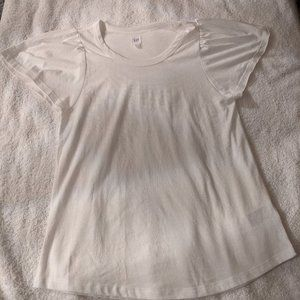 GAP White T-Shirt with Flutter Sleeves